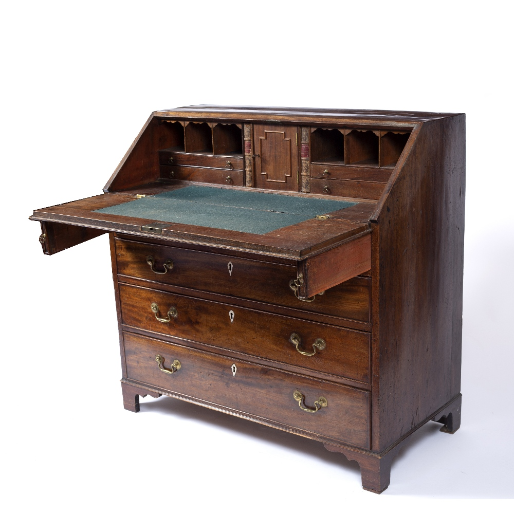 A GEORGE III MAHOGANY BUREAU, the fall front enclosing fitted interior, above four long graduated - Image 3 of 6