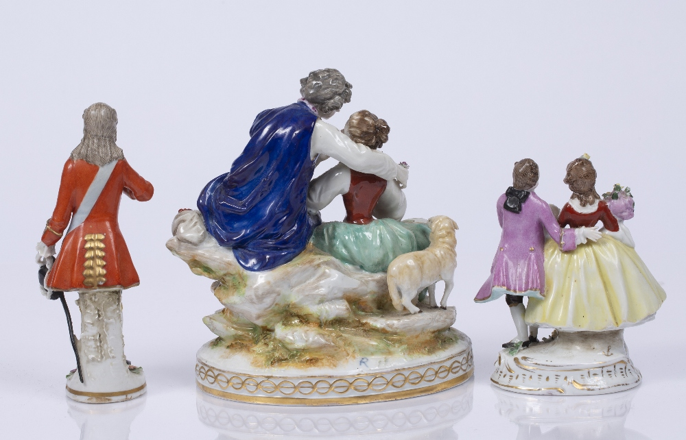 A CONTINENTAL PORCELAIN FIGURE GROUP, of a courting couple, on gilt heightened oval base, 18cm high; - Image 2 of 4