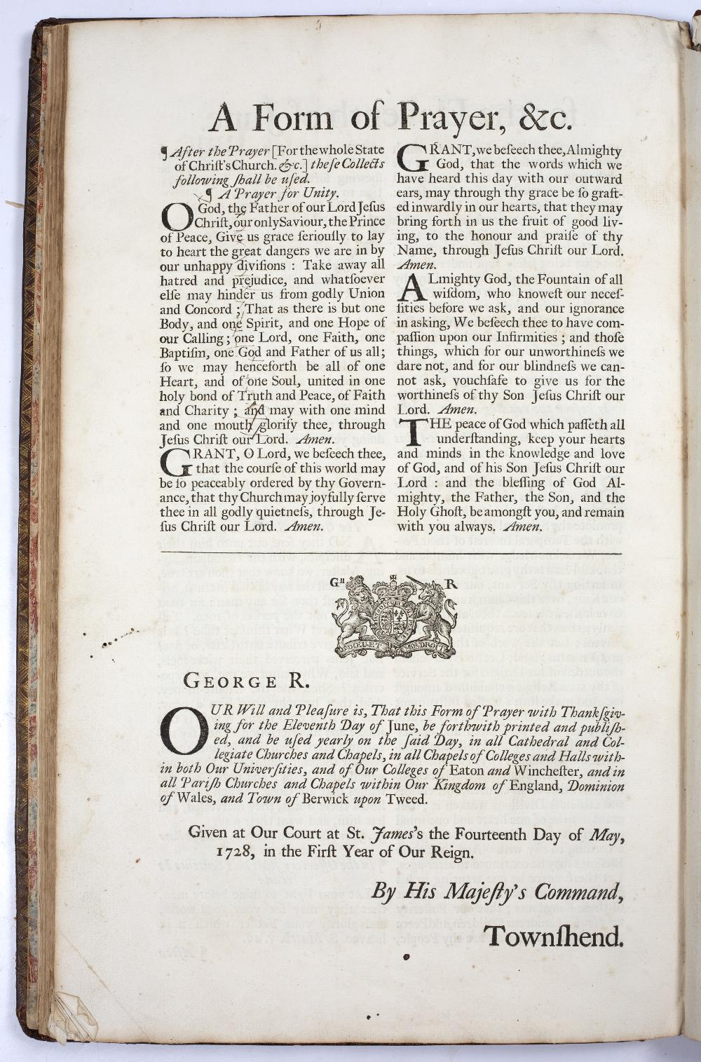 AN 18TH CENTURY PRAYER BOOK containing The Collects, Epistles and Gospels, to be used throughout the