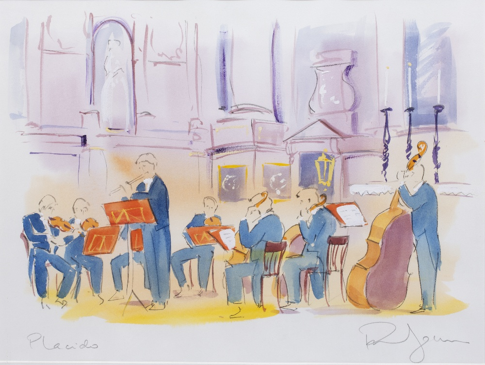 PHIL JOHNS (20TH CENTURY) 'Placido and Quartet', two lithographs, each with hand-colouring, pencil - Image 3 of 5