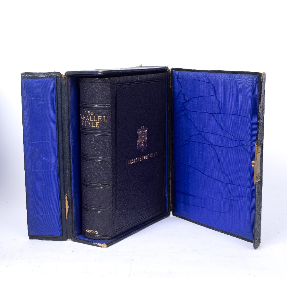THE PARALLEL BIBLE, Oxford University Press 1885. A fine presentation copy with inscription '