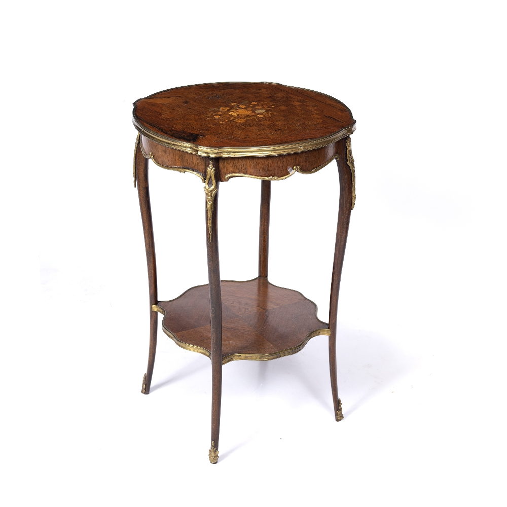 A LOUIS XV STYLE ROSEWOOD AND BEECHWOOD TWO TIER SHAPED CIRCULAR OCCASIONAL TABLE, the top inlaid - Image 6 of 6