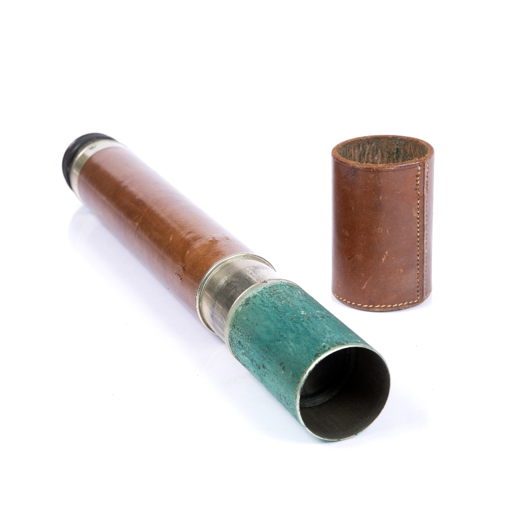 A LEATHER CASED MILITARY TELESCOPE, by W Ottway & Co. Ltd, 1943, No. 4672, 34.5cm - Image 2 of 3