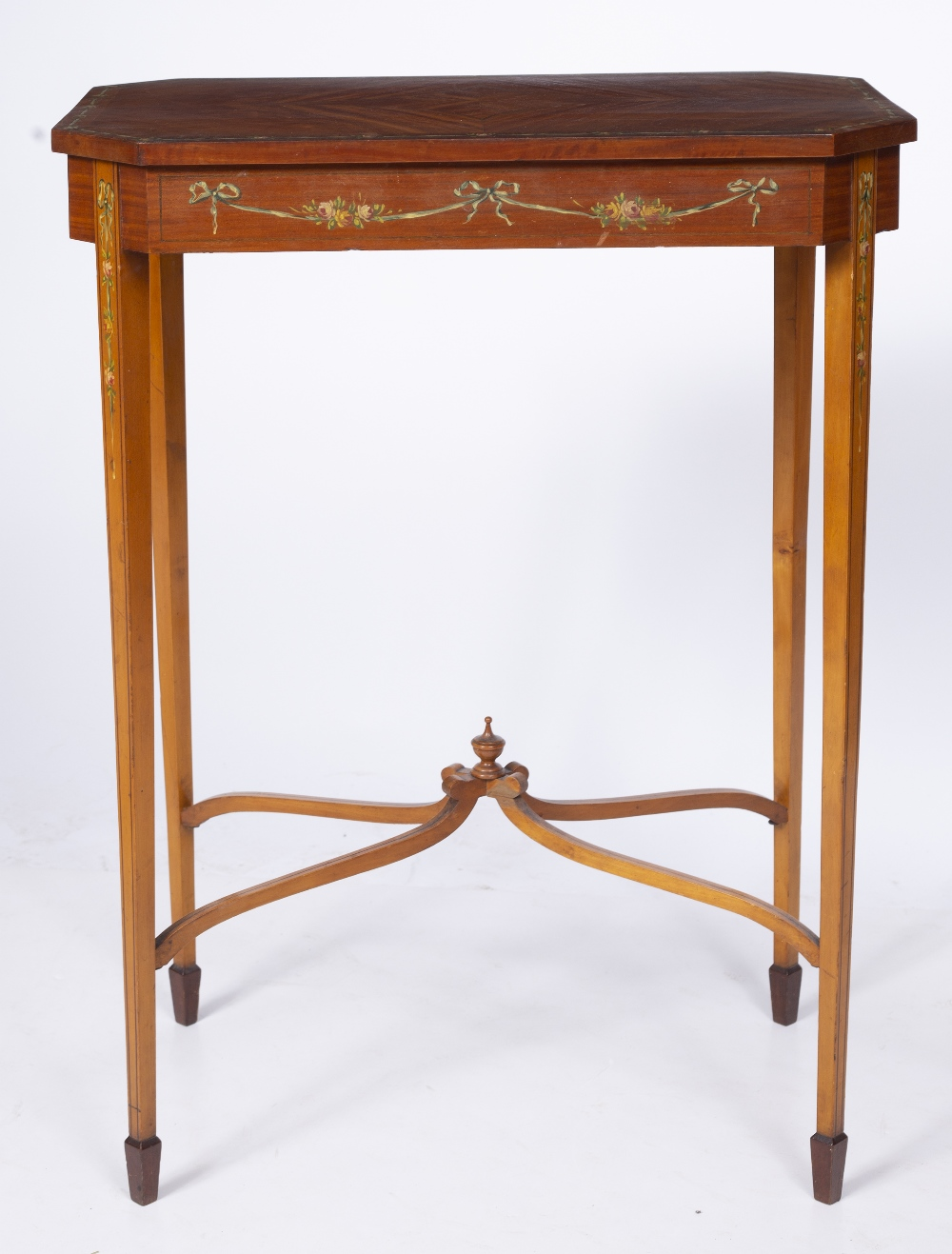 AN EDWARDIAN SATINWOOD OCCASIONAL TABLE, the rectangular top with canted corners and crossbanded - Image 5 of 8