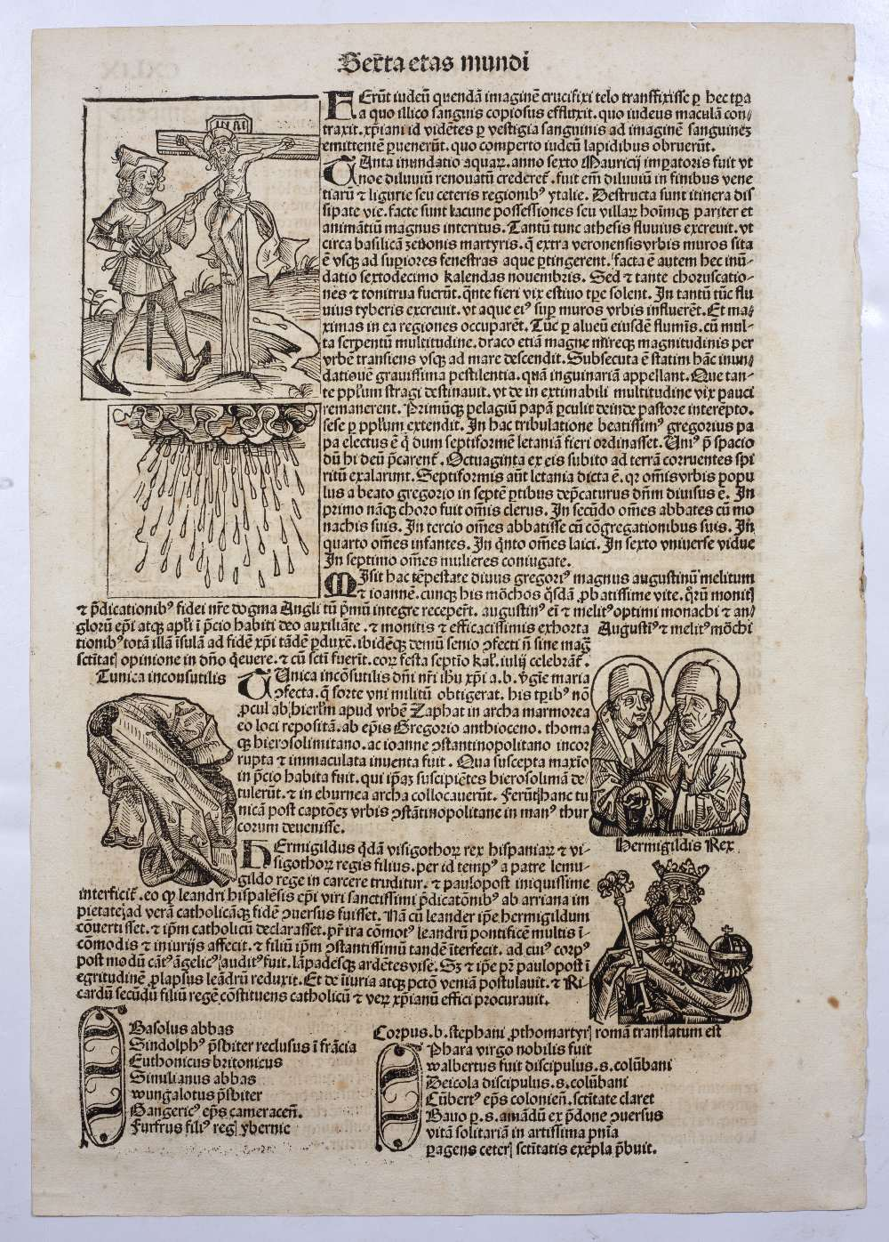 THREE FOLIO DOUBLE SIDED PAGES FROM LIBER CHRONICARUM OR NUREMBERG CHRONICLE headed Serta Etas - Image 2 of 6