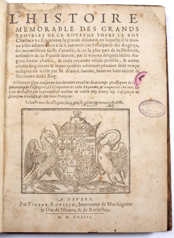 CHARTIER, Alain, L'Histoire Memorable des Grands Troubles de ce Royaume Soubs. Le Roy Charles VII. 1 - Image 2 of 2