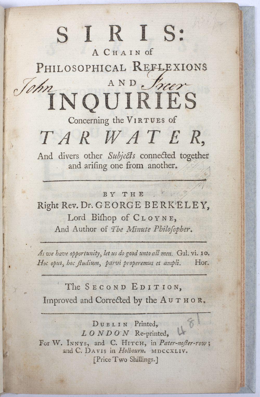 BERKELEY, Bishop George (1685-1753) (Oxford), Irish Philosopher and Bishop of Cloyne Siris: A