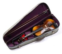 A CZECH STUDENT VIOLIN AND BOW, back length 34cm, cased