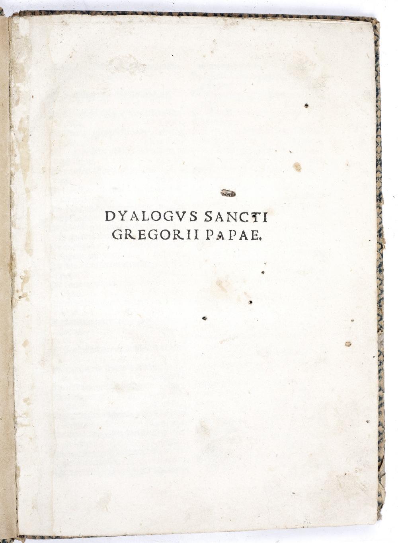 POPE GREGORY I (540-604) Dyalogus Sancti Joannem Rubeum Vercellensem. Venice December 1514. 4 - Image 3 of 4