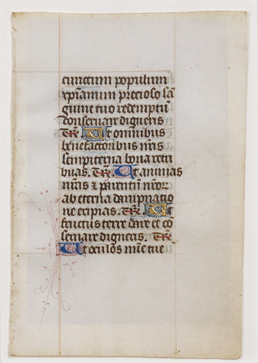 A MEDIEVAL DOUBLE SIDED LEAF FROM AN ENGLISH BOOK OF HOURS c1450, each side with 14 lines of