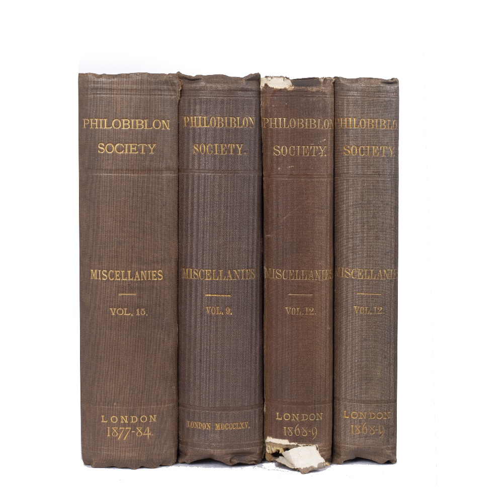 PHILOBILION SOCIETY Miscellanies. Vols 9/12x2/15 1865/68-69/1877-84. Whittingham & Wilkins Printers,
