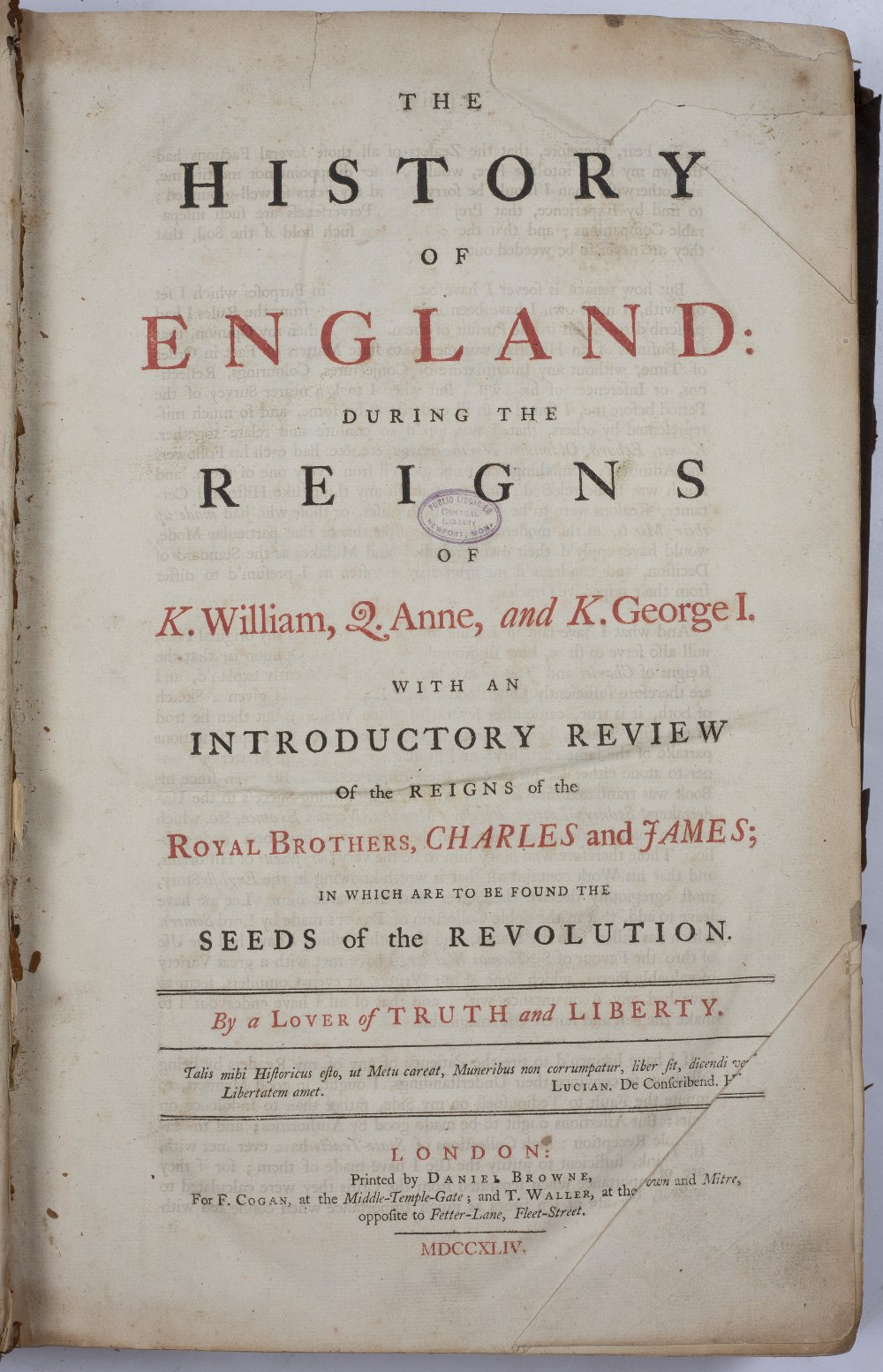 The History of England during the Reigns of K(ing) William, Q(ueen) Anne and King Geo.I with an - Image 4 of 4