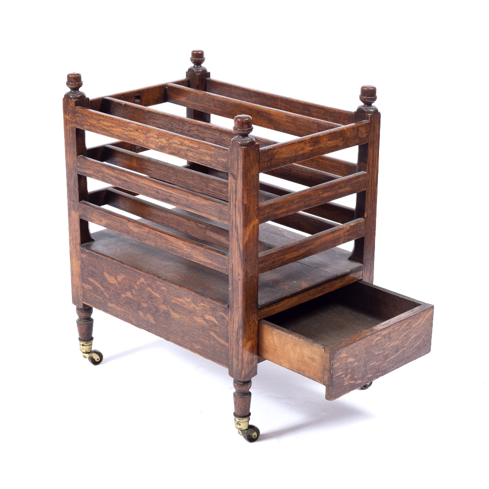 A 19TH CENTURY OAK CANTERBURY with slatted divisions, end drawer, turned legs, brass terminals, - Image 2 of 3