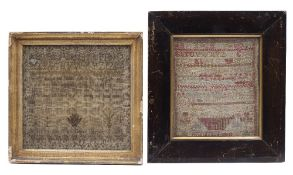 A GEORGE III NEEDLEWORK SAMPLER by Sarah Hardin 1806, worked with alphabet, prose and stylised