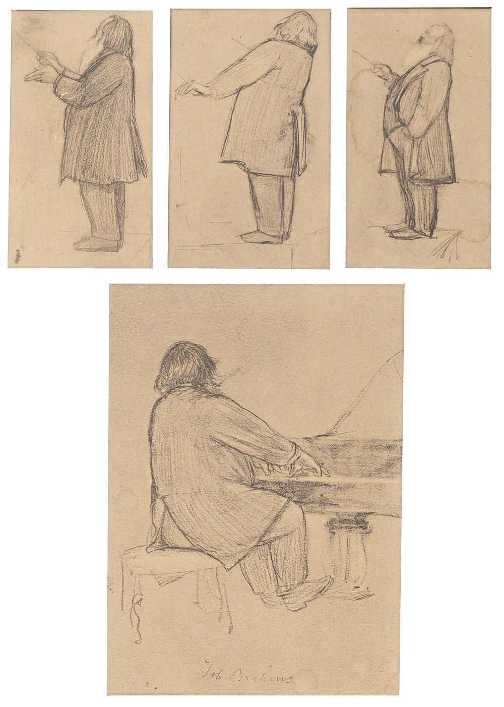 19TH CENTURY ENGLISH SCHOOL Johannes Brahms at the piano and Johannes Brahms conducting, a group