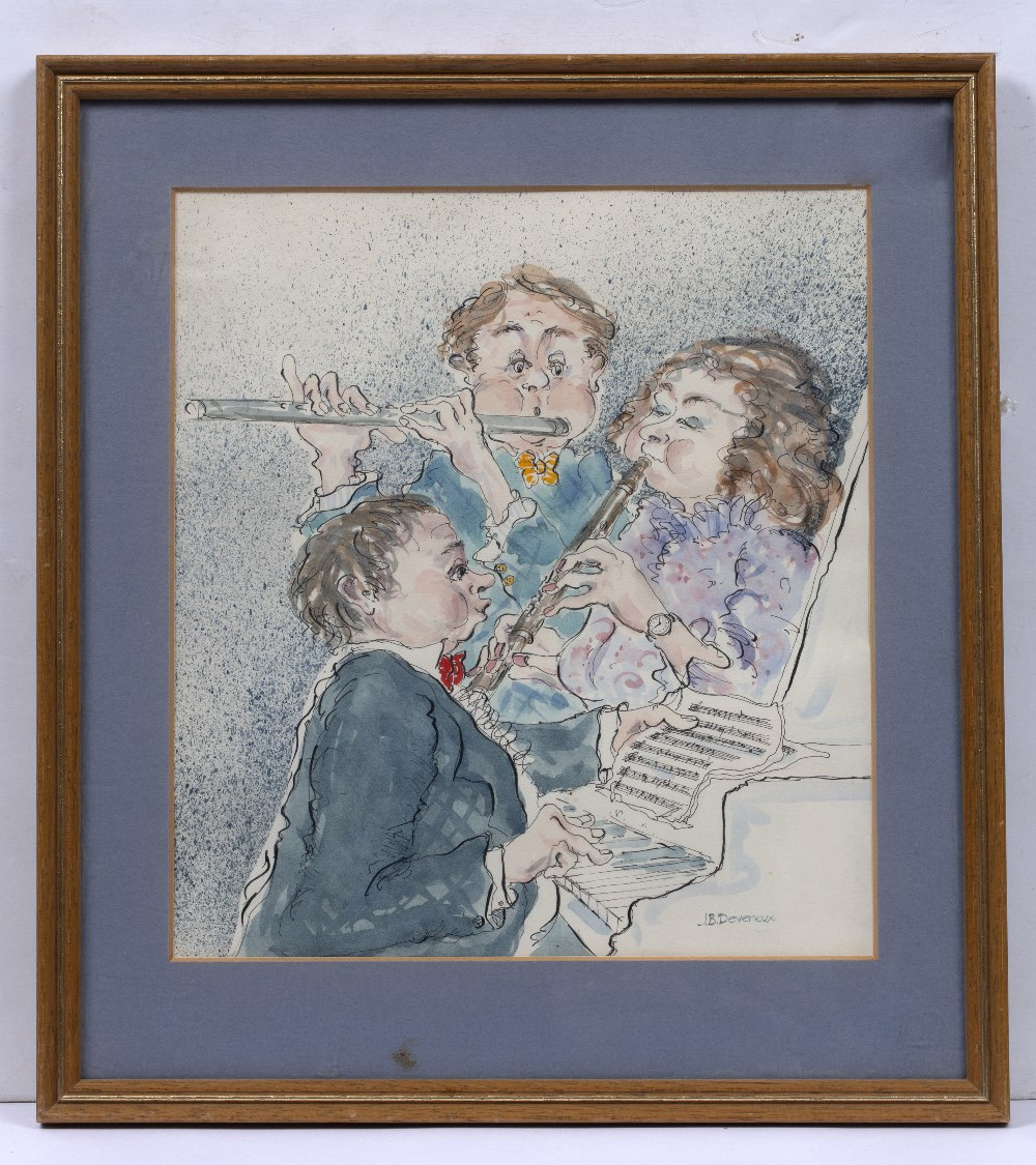 JACKIE DEVEREUX (20TH CENTURY) A Musical Trio, signed, pencil, ink and watercolour, 22.5 x 20.5cm - Image 2 of 2