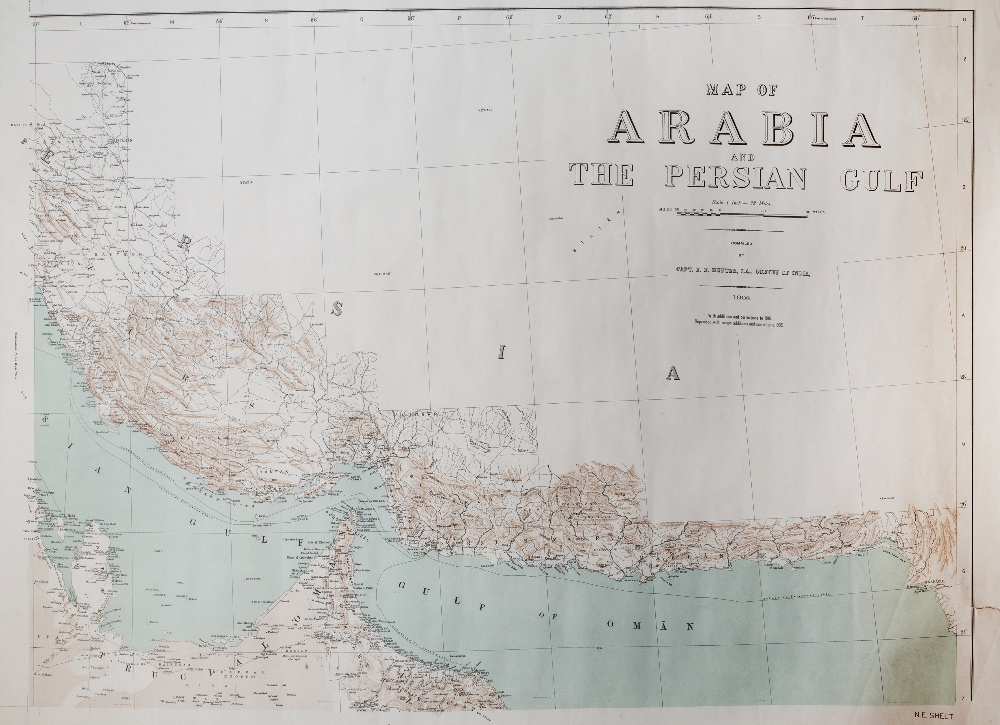CAPT E. F. HUNTER 'Map of Arabia and The Persian Gulf', in four sheets, a 1935 War Office reprint