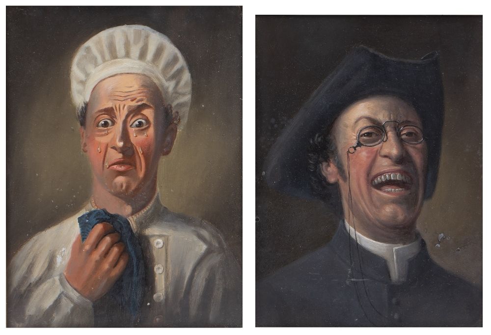 19TH CENTURY ENGLISH SCHOOL: The Jolly Vicar and The Upset Cook, a pair, oils on board, 29 x 21cm (