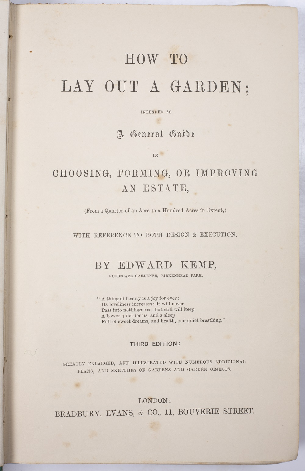 KEMP, Edward, 'How To Lay Out A Garden'. 3rd Ed. Bradbury and Evans, London 1850. green cloth plus - Image 3 of 3