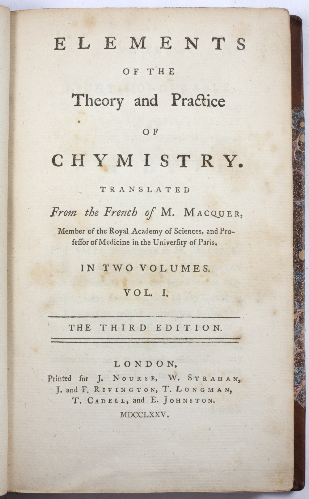 MACQUER, Pierre Joseph, 'Elements of the Theory and Practice of Chymistry', translated from the - Image 2 of 2