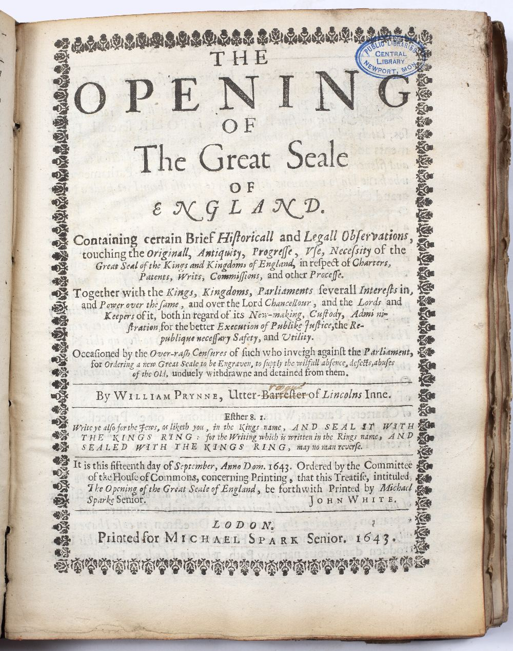 PRYNNE, William (1600-1669), English Lawyer The Soveraigne Power of Parliaments and Kingdomes. - Image 4 of 7