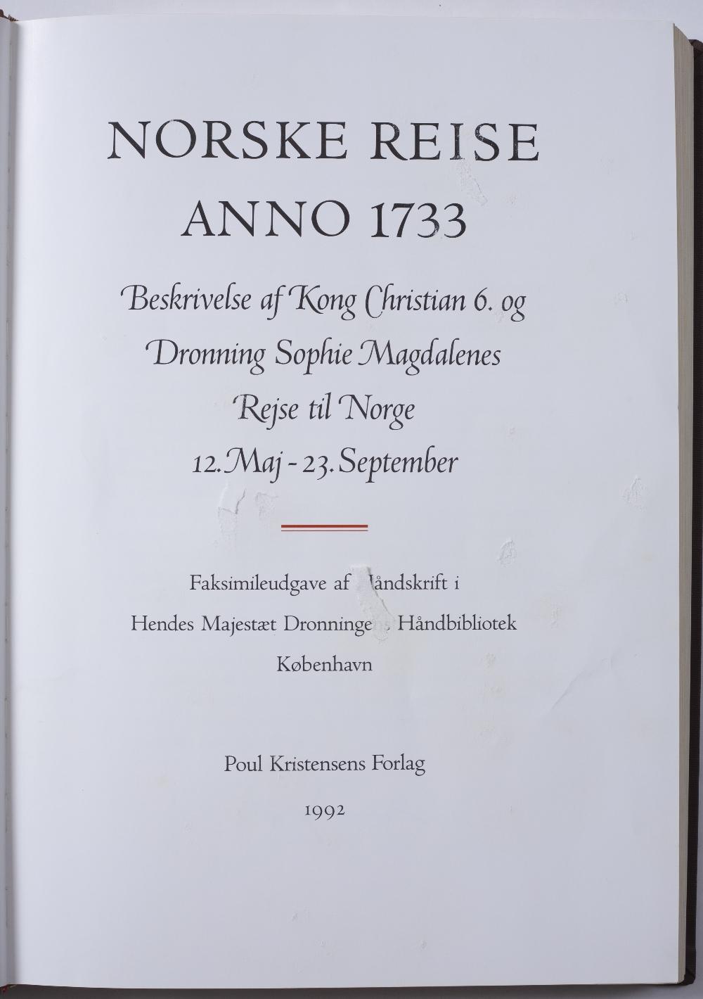 Norske Reise. Anno 1733. Facsimile. Poul Kristensens Forlag 1992. Fo in slip case. Some damp - Image 3 of 3