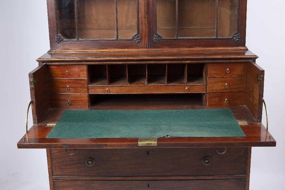 A GEORGE III MAHOGANY SECRETAIRE BOOKCASE, the upper part with a dentil moulded cornice above - Image 2 of 5
