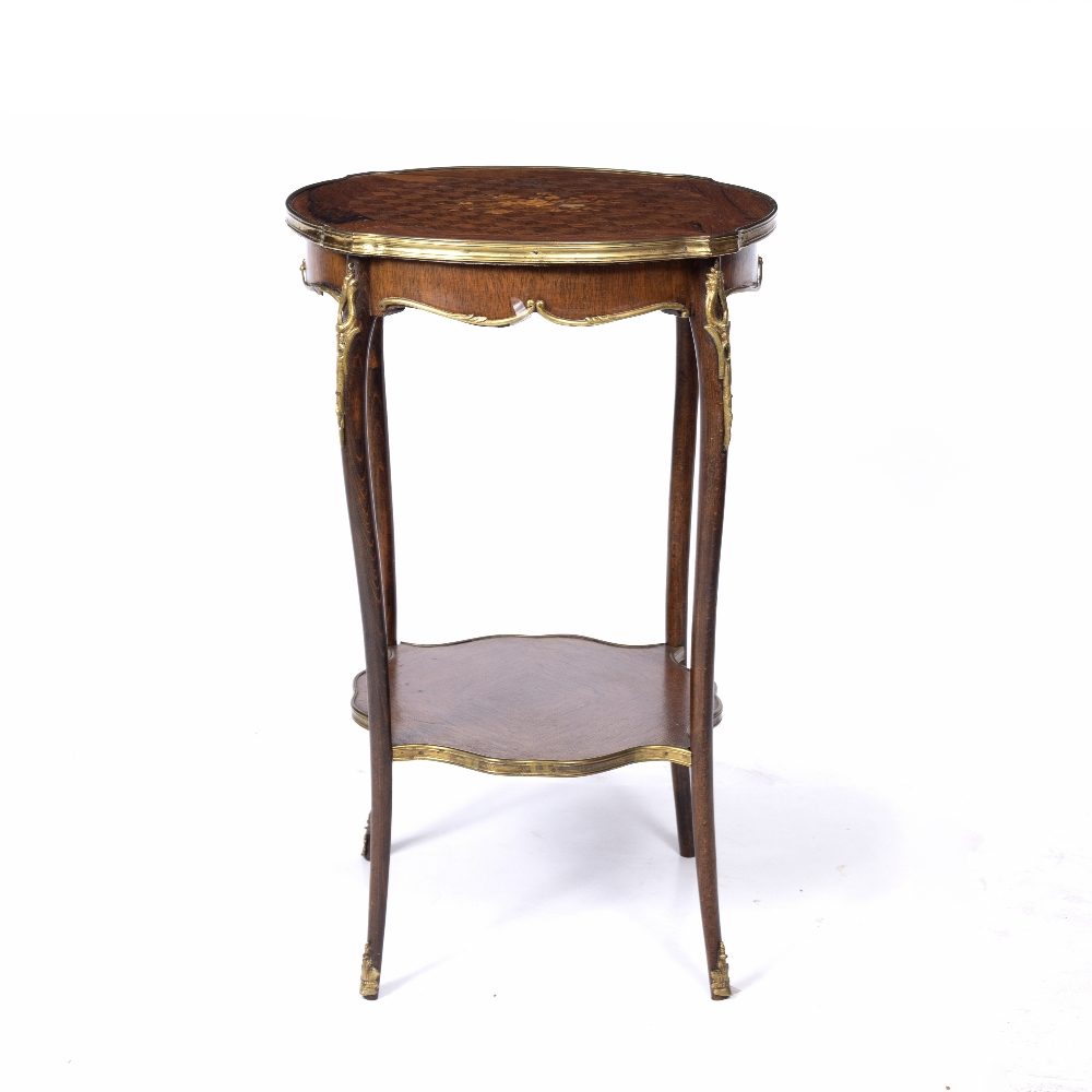 A LOUIS XV STYLE ROSEWOOD AND BEECHWOOD TWO TIER SHAPED CIRCULAR OCCASIONAL TABLE, the top inlaid - Image 3 of 6
