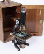 A W. WATSON & SONS LTD, LONDON 'SERVICE' MICROSCOPE with wooden case