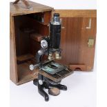 A W. WATSON & SONS LTD, LONDON 'SERVICE' MICROSCOPE with wooden case