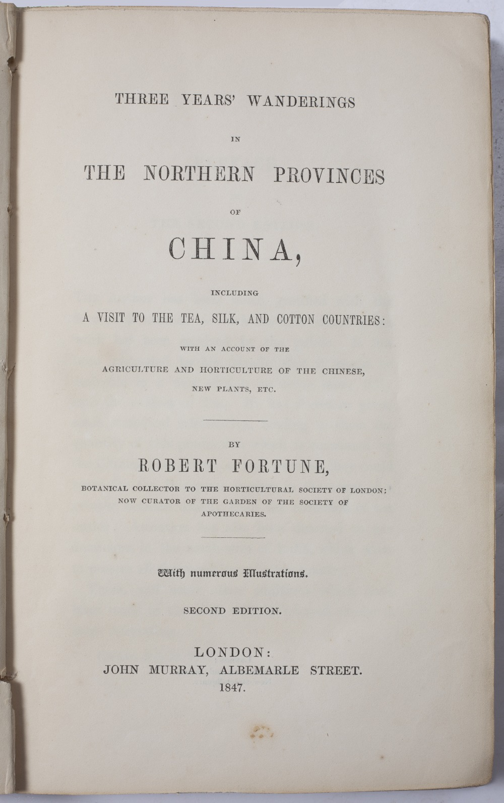FORTUNE, Robert, 'A Residence Among The Chinese' with illustrations. Murray, London 1857. - Image 2 of 5