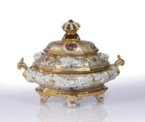A MEISSEN SHAPED OVAL AND GILDED TUREEN AND COVER in the 18th Century style with crown finial