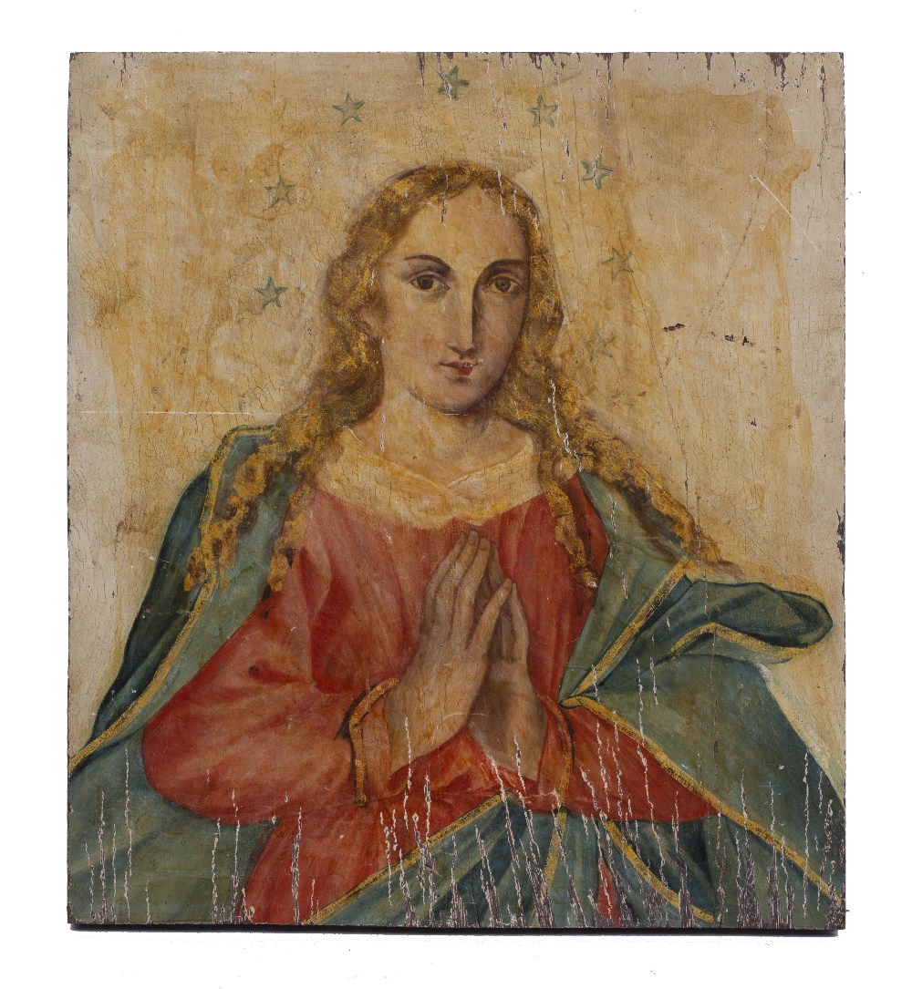 AN ICON painted with female saint with hands clasped in prayer, on wood panel, 39 x 31cm