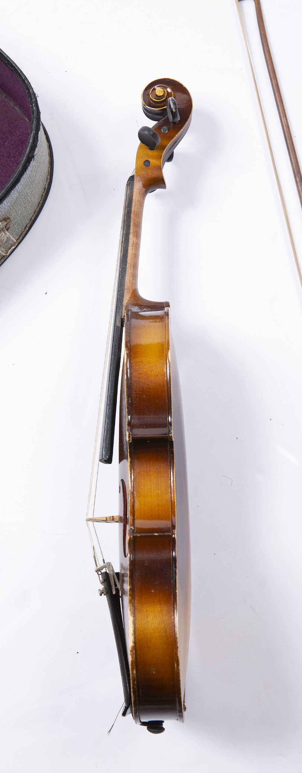 A CZECH STUDENT VIOLIN AND BOW, back length 34cm, cased - Image 2 of 3