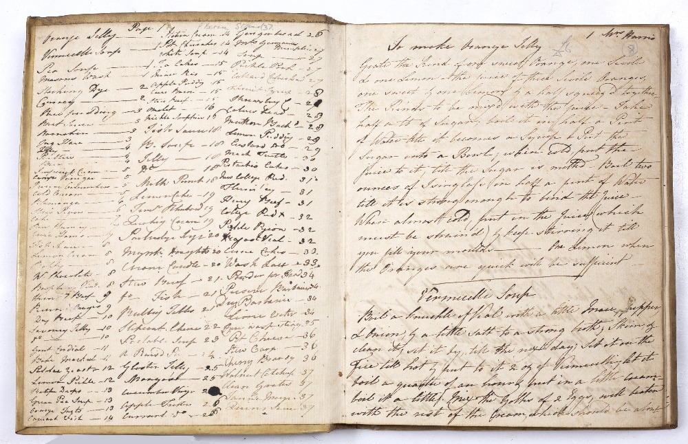 COOKERY: A late 18th Century manuscript recipe book written in black ink in a good long hand with