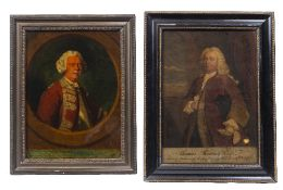 A GEORGE III HAND COLOURED REVERSE PRINT ON GLASS: 'William Kingsley Esq', 33.5 x 25cm; and