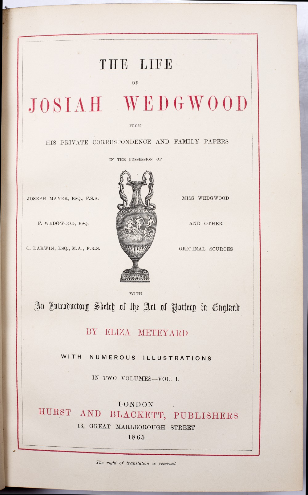 METEYARD, Eliza, 'The Life of Josiah Wedgwood from his Private Correspondence and Family Papers'. - Image 3 of 6