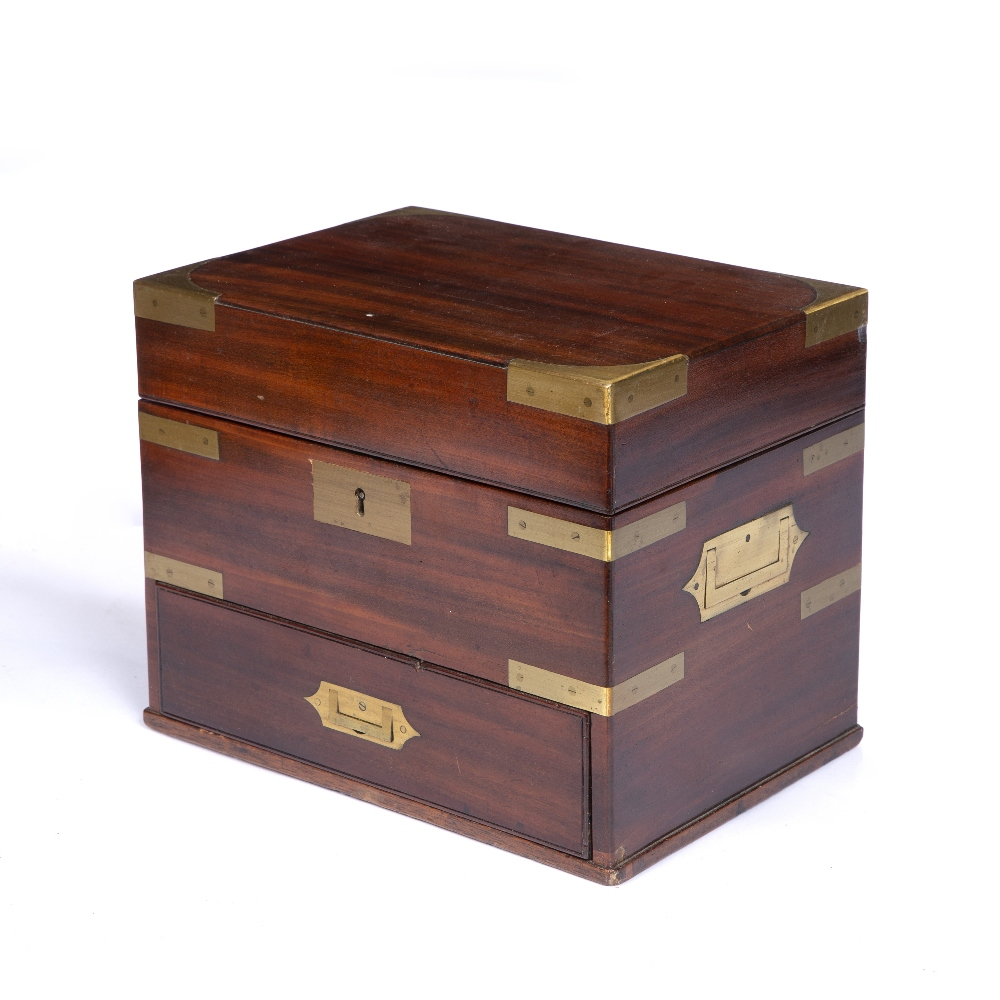 A GEORGE III MAHOGANY AND BRASS MOUNTED TABLE TOP BOX with hinged lid, drawer below and recessed - Image 2 of 3