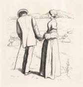 AFTER JOHN EVERETT MILLAIS A loving couple in a landscape, photogravure, 10.5 x 10cm Ex. The Aidan