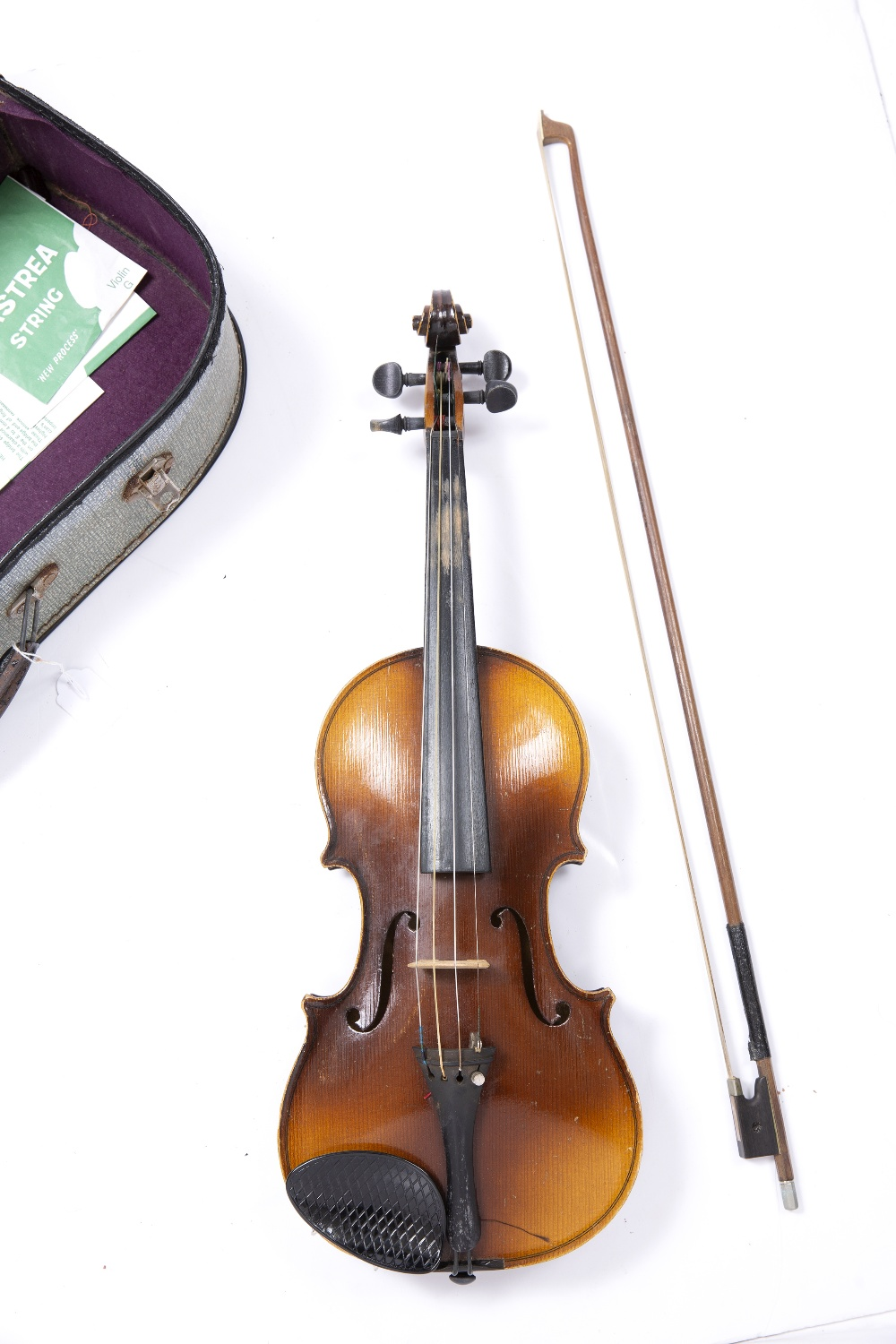 A CZECH STUDENT VIOLIN AND BOW, back length 34cm, cased - Image 3 of 3