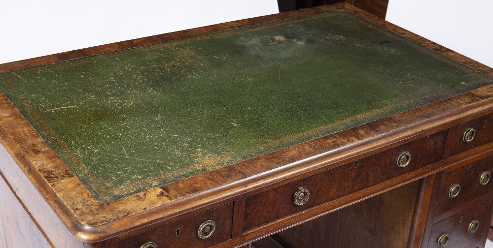 A MID VICTORIAN BURR AND FIGURED WALNUT PEDESTAL DESK with green leather inset top fitted with one - Image 2 of 5