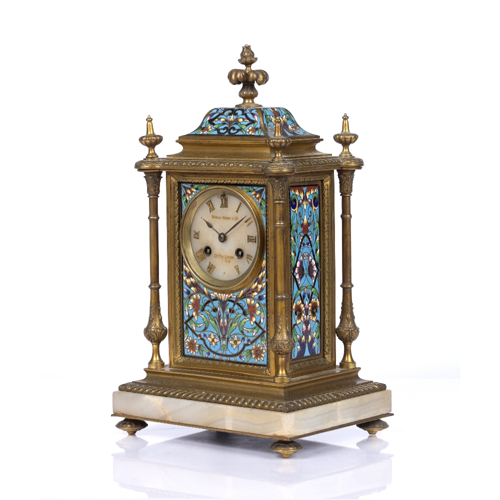 A VICTORIAN GILT BRASS AND POLYCHROME CLOISONNE ENAMEL MANTEL CLOCK the pale agate dial with gilt - Image 3 of 4