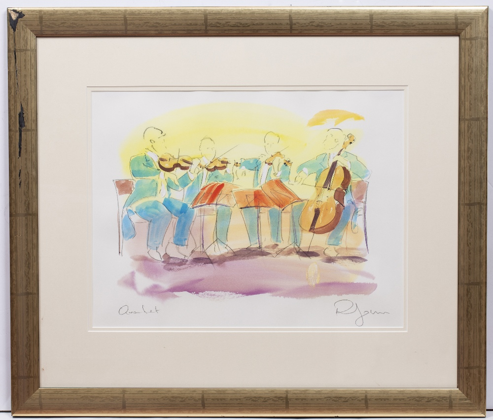 PHIL JOHNS (20TH CENTURY) 'Placido and Quartet', two lithographs, each with hand-colouring, pencil - Image 5 of 5