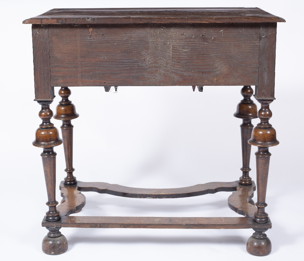 AN 18TH CENTURY STYLE WALNUT AND INLAID LOWBOY, the top and drawers with foliate marquetry angles, - Image 4 of 5