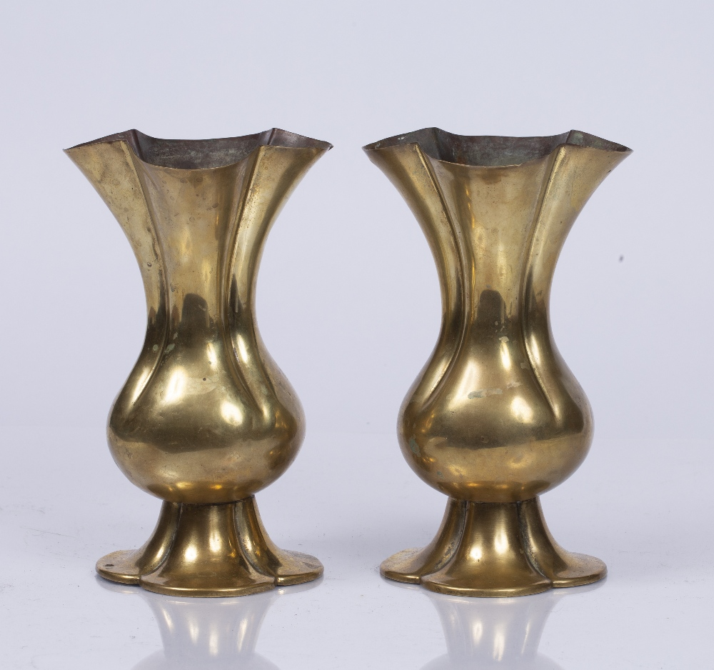 A PAIR OF ARTS AND CRAFTS OR OXFORD MOVEMENT ALTAR VESSELS with quatrefoil rims and bases, - Image 2 of 3