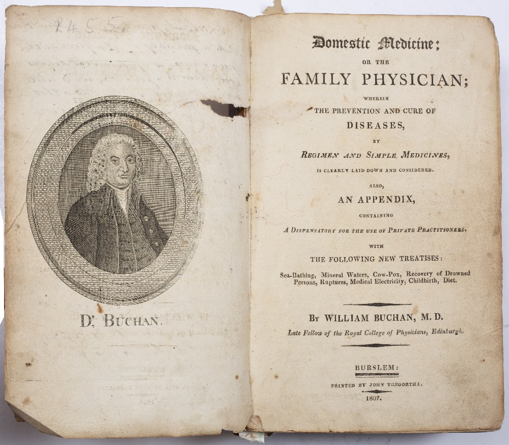 BUCHAN, William, Domestic Medicine or the Family Physician, Burslem 1807. portrait frontispiece,