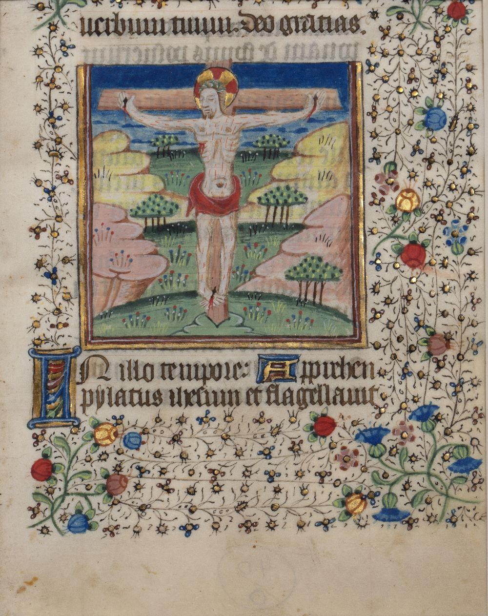 A MEDIEVAL FRENCH ILLUMINATED MINIATURE OF THE CRUCIFIXION, Christ on the Cross set in a pastoral