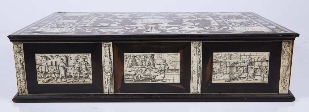 AN 18TH CENTURY ITALIAN ROSEWOOD AND IVORY WRITING SLOPE the top, front, sides and back with - Image 4 of 7