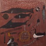AN AUSTRALIAN ABORIGINAL PAINTING, probably Western Australia, depicting native fish, animals and