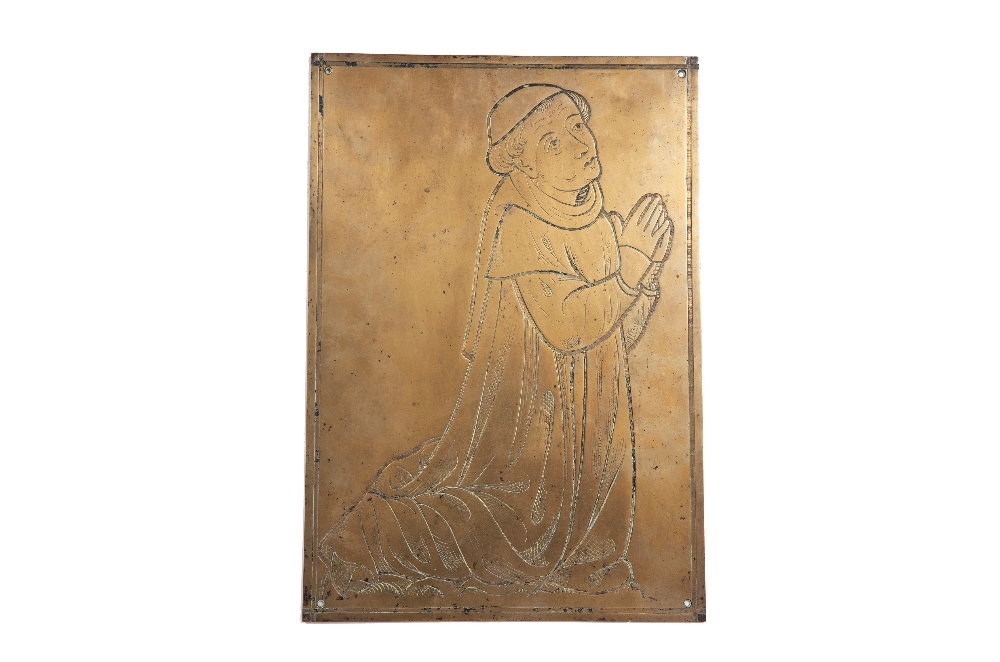 A NORTH EUROPEAN, MEDIEVAL STYLE, MEMORIAL BRASS engraved with a kneeling Donor, 43 x 31cm